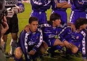 Raúl junto a Zamorano el día de su debut en Primera
